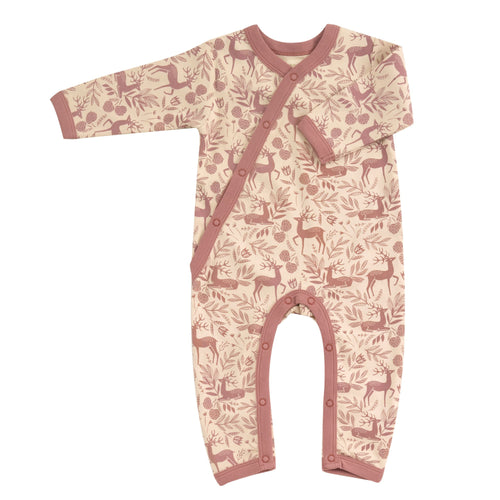 Organic Cotton Rose Deer Print Romper