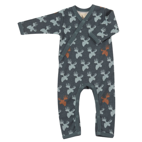 Organic Cotton Moose Head Print Blue Surf Teal Romper