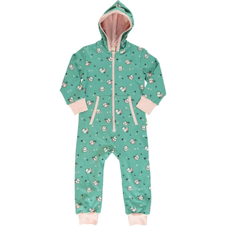 Maxomorra Little  Sparrow Print Hooded One Piece