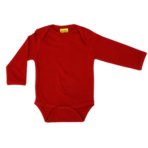 Long Sleeve Pompeian Red Bodysuit Organic Cotton Vest Online babygrow.ie