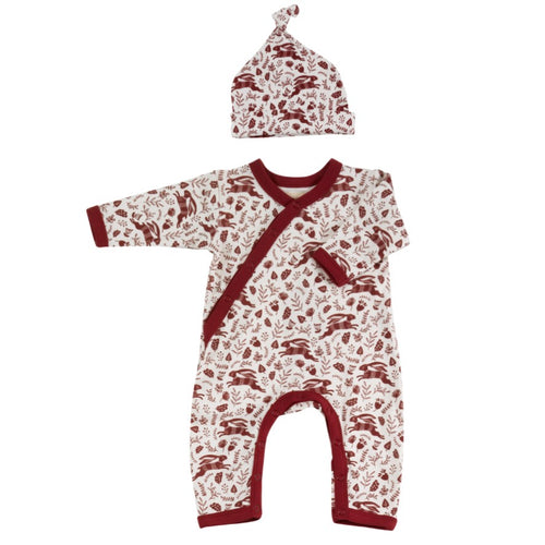 Organic Cotton Red Hare Print Romper and Knotted Hat Gift Set