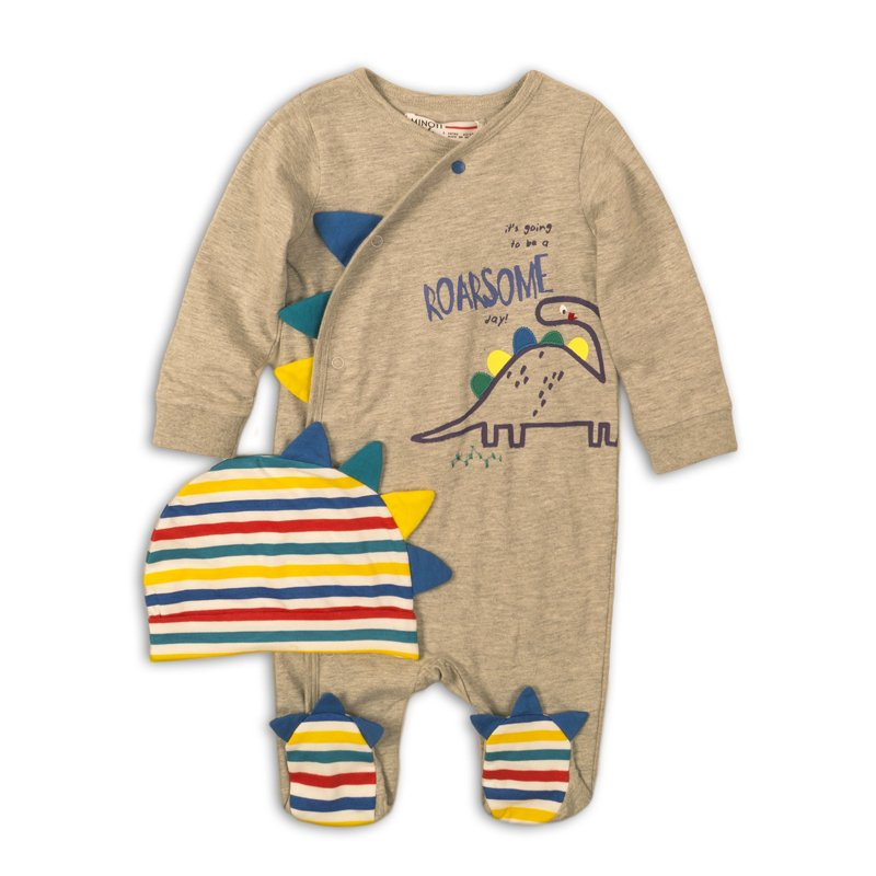 Rex Print Cotton Babygrow & Hat Set