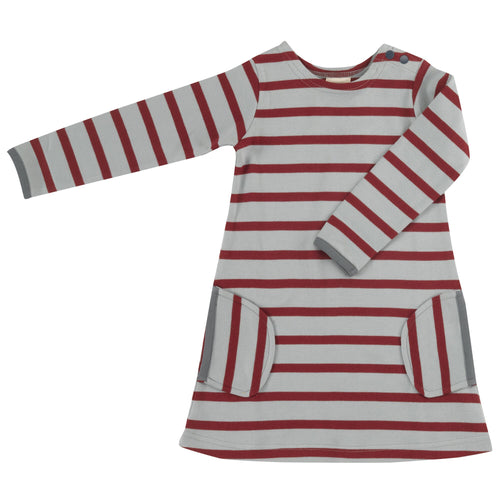 Organic Cotton Spice and Pumice Stripe Long Sleeve Breton Dress