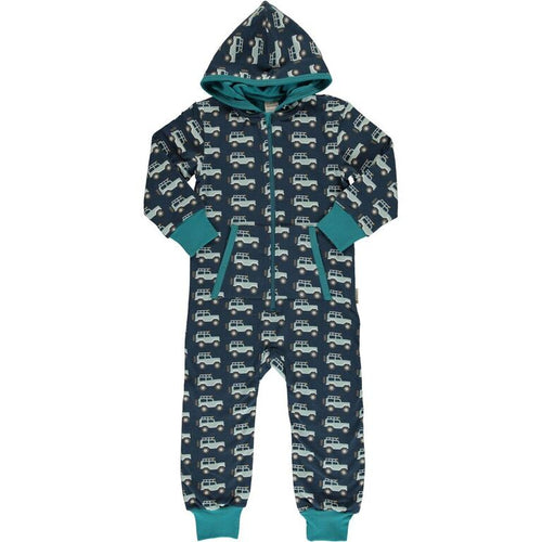 Maxomorra Jeep Adventure Print Hooded Onesie
