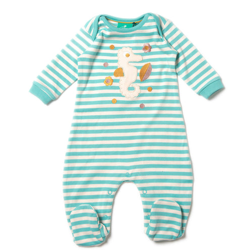 Seahorse stripy babygrow Organic babygrow buy baby clothes online