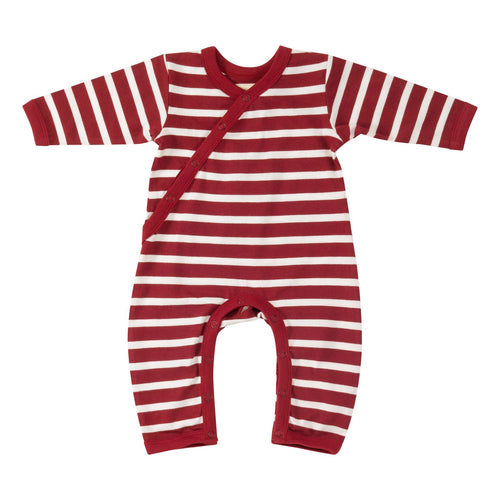 Red Breton Stripe Organic Cotton Kimono Romper babygrow.ie