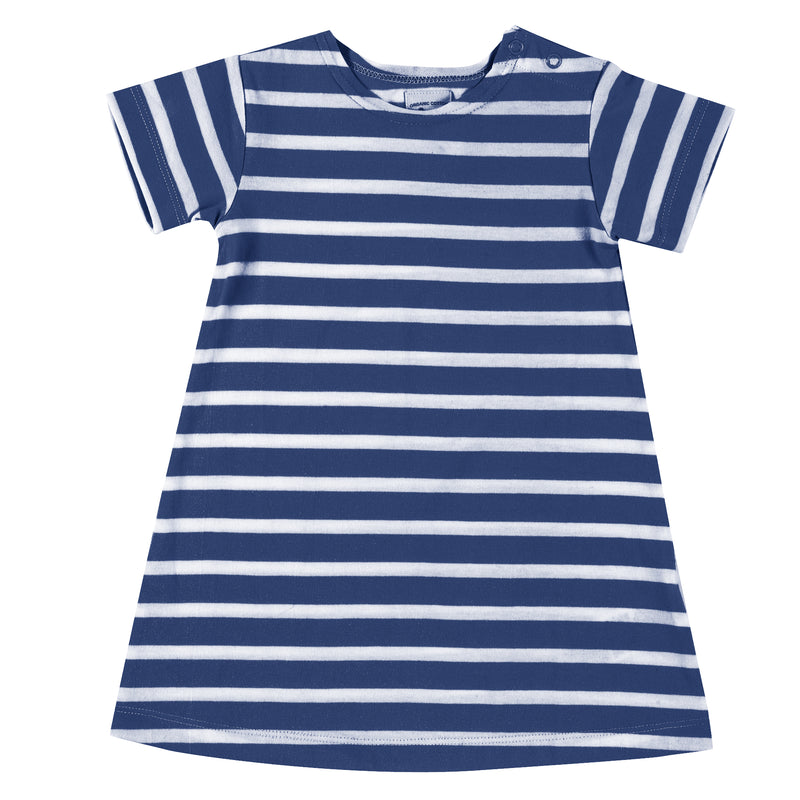 Organic Cotton Delft Blue Short Sleeve Breton Dress