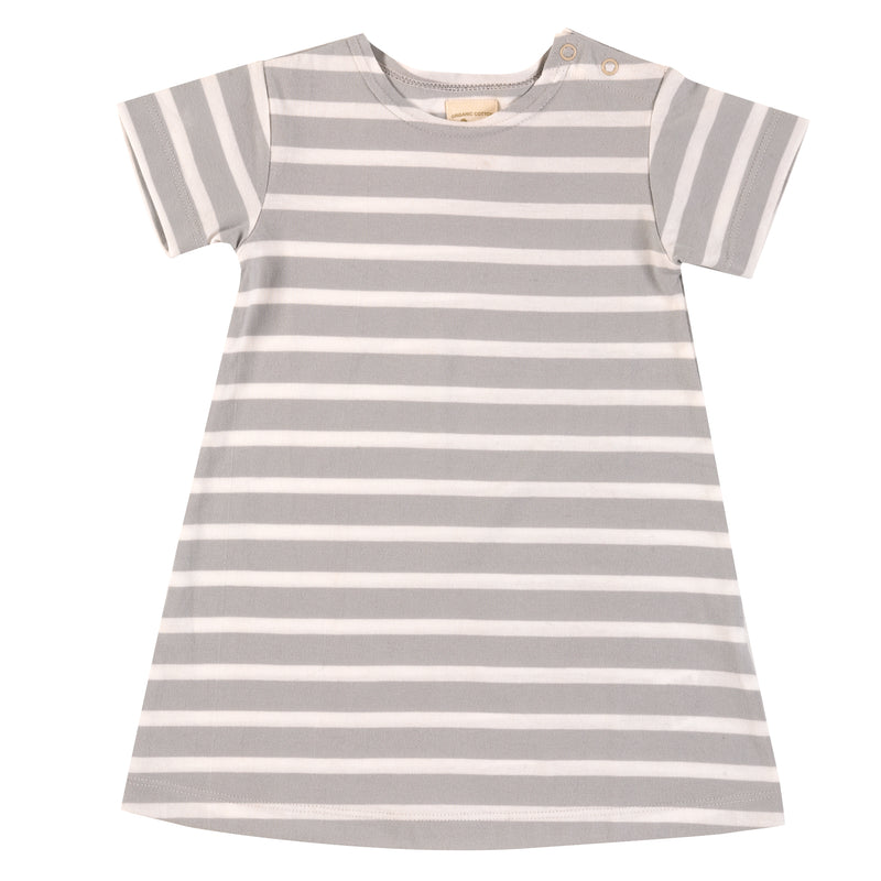 Organic Cotton Grey Short Sleeve Breton Dress