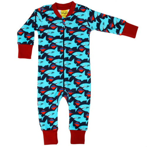 Dark Blue Sharky Organic Cotton  Zip Sleepsuit