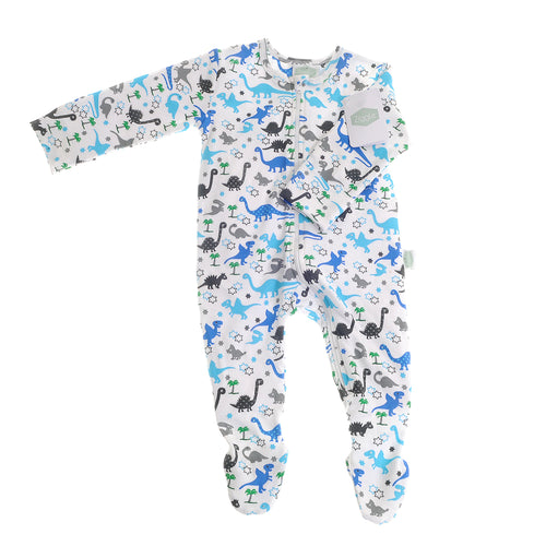 Ziggle Uptown Dinosaur Print Zipped All-In-One Babygrow