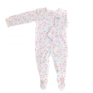 Ziggle Lilybelle Unicorn Print Zipped All-In-One Babygrow