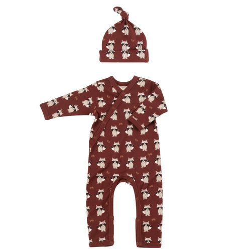 Organic Cotton Raccoon Print Spice Romper & Knotted Hat - Organic Cotton Gift Set