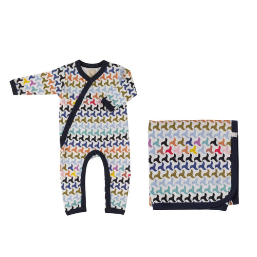 Organic Cotton Colourful Swirl Print Romper & Blanket Gift Set