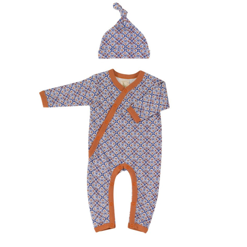 Organic Cotton Tiles Print Romper & Knotted Hat Gift Set