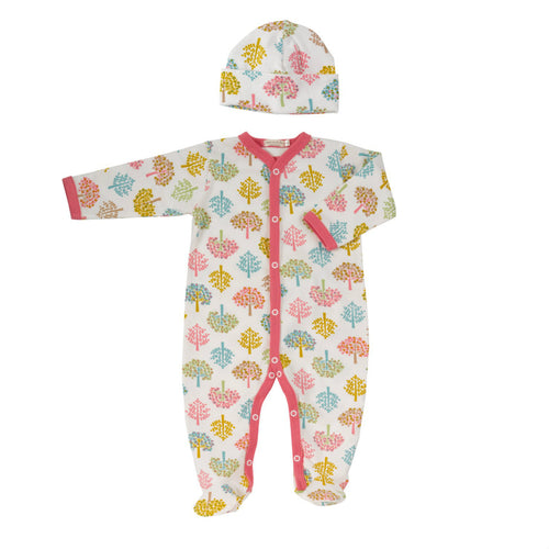 Tree and Tulip Babygrow & Beanie Hat Gift Set