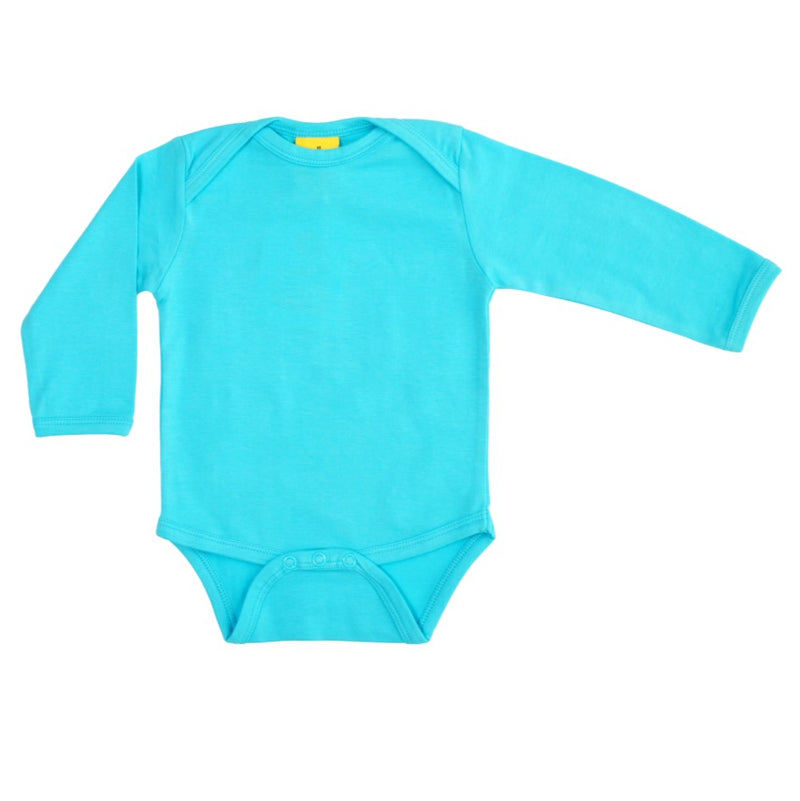Long Sleeve Turquoise Organic Cotton Bodysuit