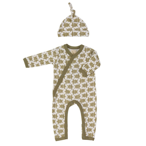 Organic Cotton Turtle Print Romper & Knotted Hat Gift Set