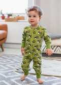 Maxomorra Snail Print Long Sleeve Green Zip Rompersuit Slim Fit