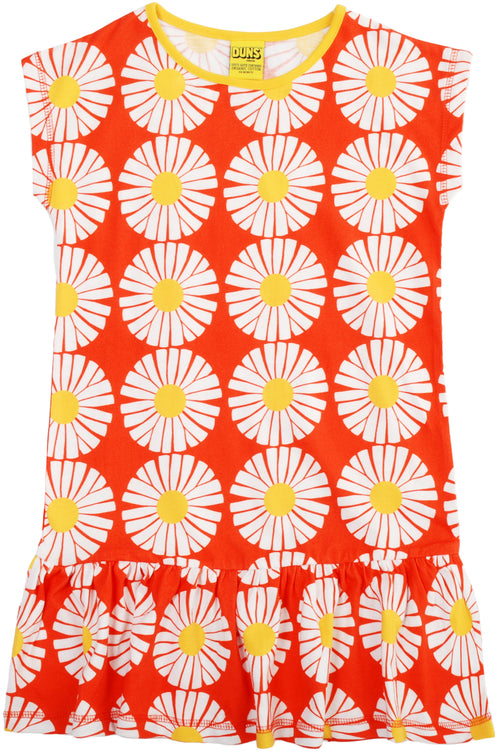 DUNS Flower Print Red Cap Sleeve Organic Cotton Dress