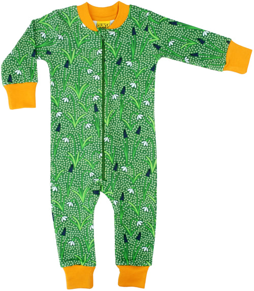 DUNS Snowdrop Print Green Organic Cotton Zip Sleepsuit