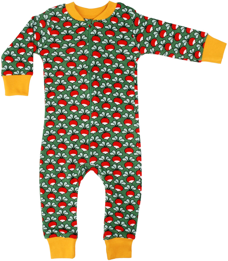 DUNS Radish Print Green Organic Cotton Zip Sleepsuit