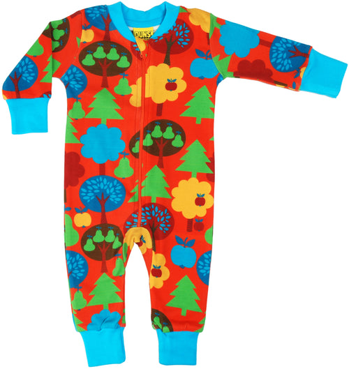 DUNS Red Fruit Garden Organic Cotton Zip Sleepsuit