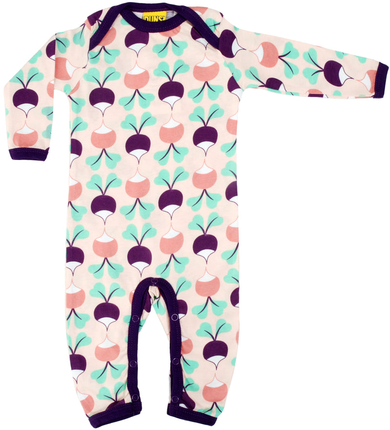 DUNS Radish Print Long Sleeve Lap neck Organic Purple Cotton Sleepsuit