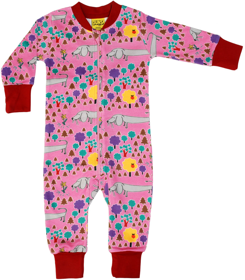 DUNS Sweden A Dogs Life Pink Organic Cotton Zip Sleepsuit from babygrow.ie