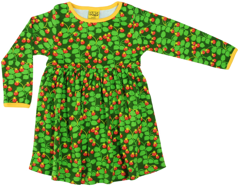 DUNS Wild Strawberry Print Organic Cotton Long Sleeve Green Gather Dress