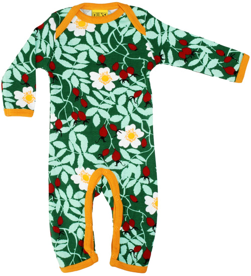 DUNS Rosehip Print Green Organic Cotton Lap neck Sleepsuit