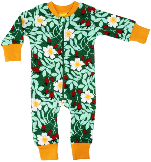 DUNS Rosehip Print Green Organic Cotton Zip Sleepsuit