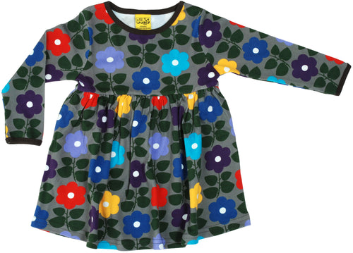 DUNS Charcoal Flower Print Organic Cotton Long Sleeve Gather Dress