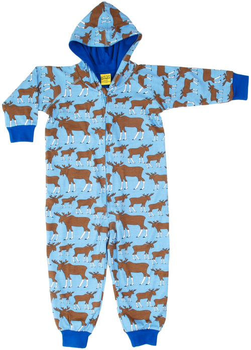 DUNS Blue Moose Print Organic Cotton Lined Zip Sleepsuit with Hood