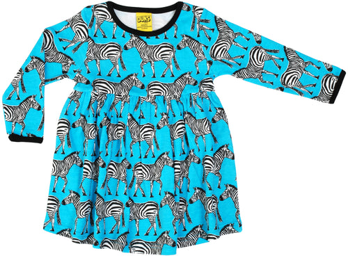 DUNS Turquoise Zebra Print Organic Cotton Long Sleeve Gather Dress