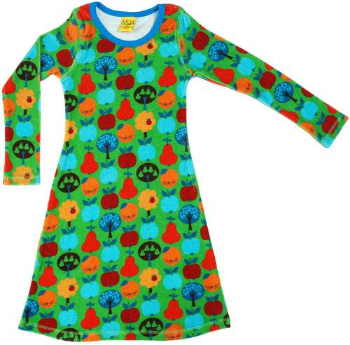 DUNS Fruit Garden Print Organic Cotton Velour Long Sleeve Dress