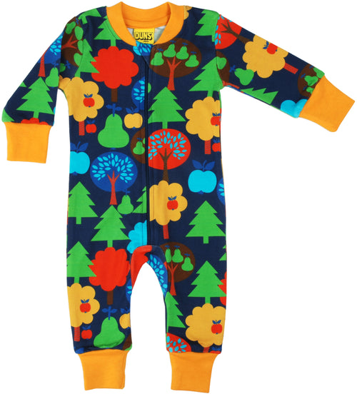 DUNS Dark Blue Fruit Garden Organic Cotton Zip Sleepsuit