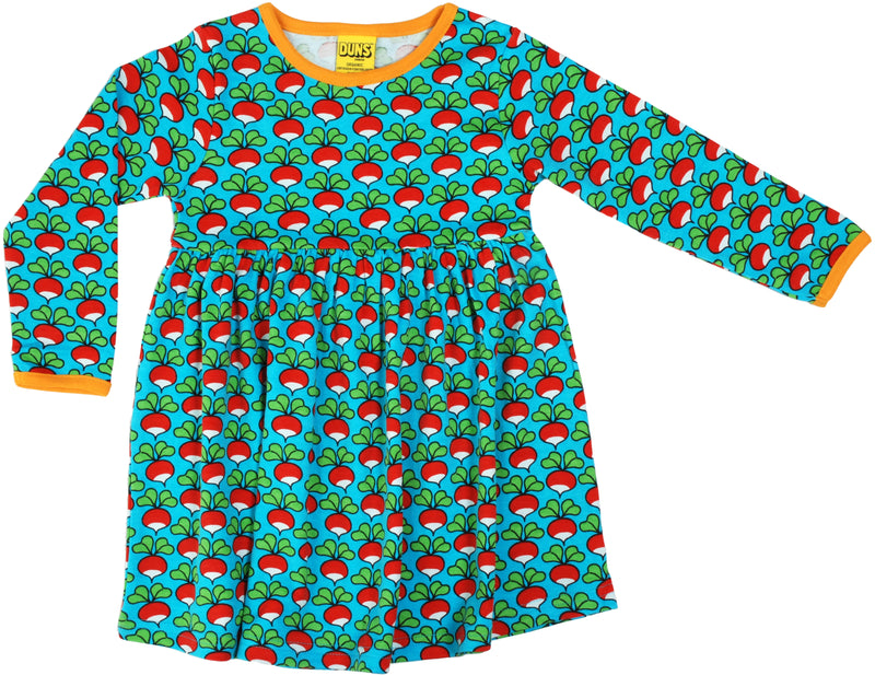 DUNS Radish Print Organic Cotton Long Sleeve Turquoise Gather Dress