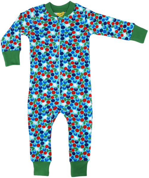 DUNS Berry Print Blue Organic Cotton Zip Sleepsuit