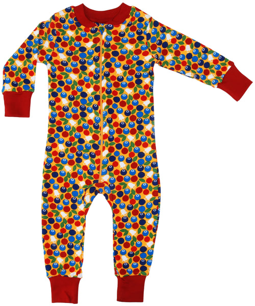 DUNS Berry Print Mustard Organic Cotton Zip Sleepsuit
