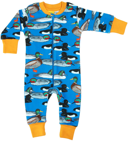 DUNS Duck Pond Print Blue Organic Cotton Zip Sleepsuit