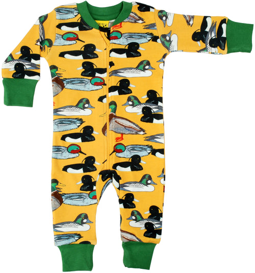 DUNS Duck Pond Print Mustard Organic Cotton Zip Sleepsuit