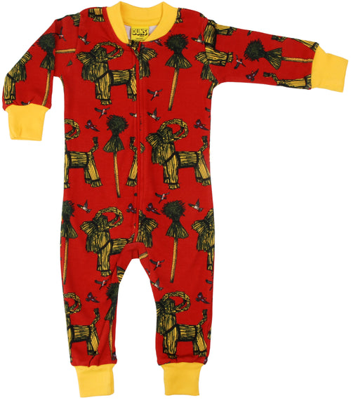 DUNS Sheaf Print Red Organic Cotton Zip Sleepsuit