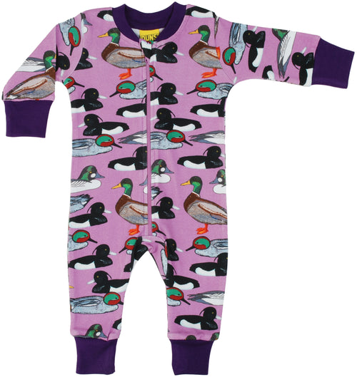 DUNS Duck Pond Print Violet Organic Cotton Zip Sleepsuit