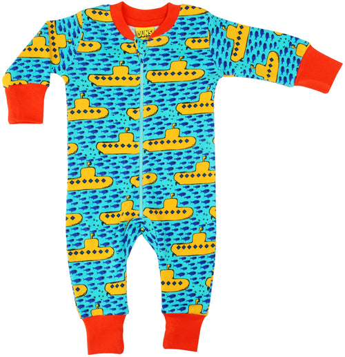 DUNS Submarine Print Blue Organic Cotton Zip Sleepsuit