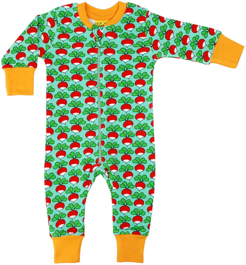 DUNS Radish Print Mint Organic Cotton Zip Sleepsuit
