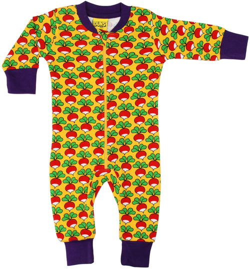 DUNS Radish Print Yellow Organic Cotton Zip Sleepsuit