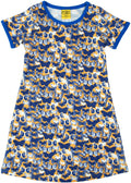 More than a Fling Butterfly Print Short Sleeve Blue Dress