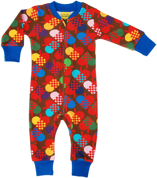 DUNS Heart Print Brown Organic Cotton Zip Sleepsuit