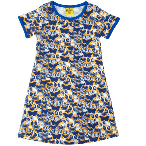 More than a Fling Blue Butterfly Print Short Sleeve Dress
