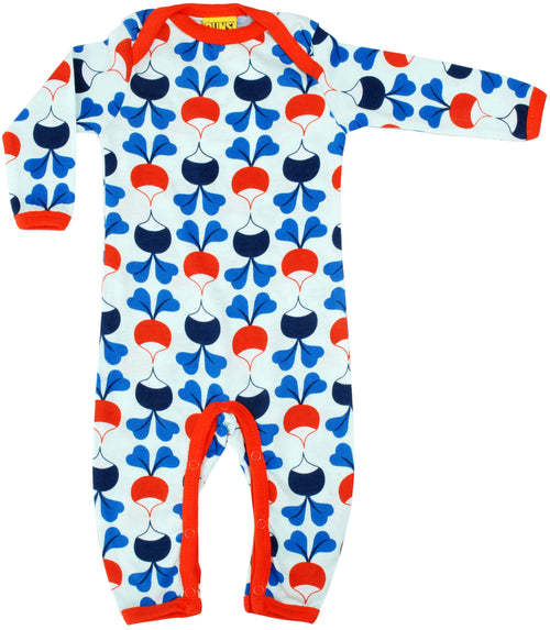 DUNS Radish Print Long Sleeve Lap neck Organic Blue Cotton Sleepsuit